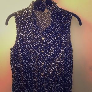 Navy blue and white Polka dot blouse